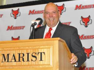 Jeff Bower warms up to the press at his introductory news conference. – photo courtesy of goredfoxes.com