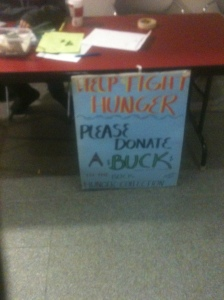 """Buck Hunger"" stand set up in Dyson for donation collection."