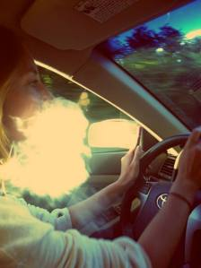 Marist student smokes an e-cigarette while driving.