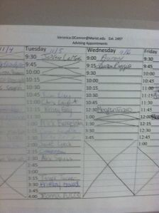 Registration sign up sheet