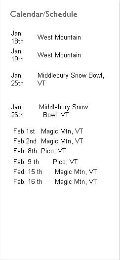 ski schedule