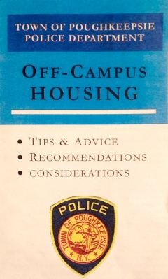 Off-campus housing pamphlet distributed to 81 student residences by Town of Poughkeepsie police. Photo by Samantha Fusco
