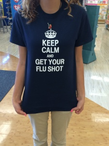 The shirts that all Rite Aid employees wear to promote getting the flu shot.