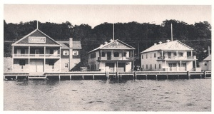 Regatta Row- from left to right: Cornell, California, Washington. You can see a hint of the dining hall off to the right (photo courtesy Richard Foy)