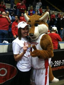 Jill Hub and Shooter Fox at the MAAC Championships in 2012 where the Marist Women's basketball team won/ Photo courtesy Jill Hub