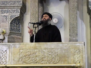 Al-Baghdadi, ISIS leader and target of one of the airstrikes. His condition is unknown.Photo from Associate Press.