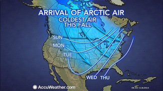 Photo from Accuweather.com shows the arrival of arctic air pushed down by the 'bomb cyclone' from the Pacific Ocean.