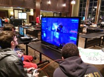Students participating in a Halo tournament