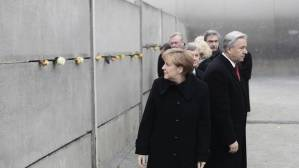 Chancellor Merkel at the Berlin Wall Memorial earlier Sunday.