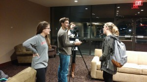 Students conduct interviews for their Video Production news package. Photo courtesy of Kathleen O'Brien