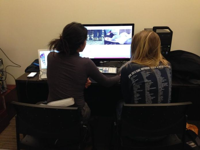 Allen and Urena editing their footage in the Post Production Suite 231. Photo courtesy of Christen Sblendorio.