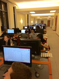 Students working diligently in the Library.