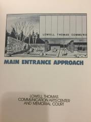 The design for the main entrance of Lowell Thomas, featured in the 1983 booklet.