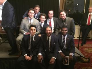 Several Marist College student-interns pose with Bryant Gumbel and Dr. Keith Strudler after the ceremony.