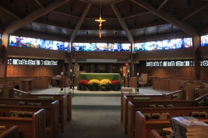 An inside view of 'Our Lady Seat of Wisdom Chapel,' the main church on the Marist campus.