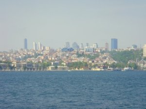 The Istanbul skyline seen from Bosphorus Strait