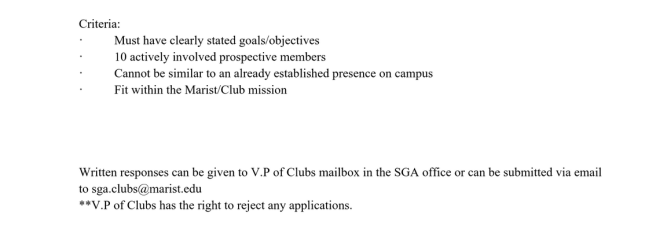 A portion of SGA's New Club Application