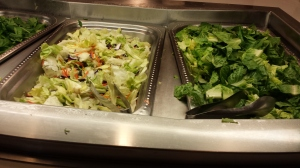 The salad bar in the dining hall has a wide variety of toppings to choose from.