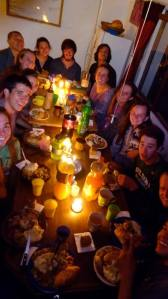 Last fall in Bolivia, Hazel Edwards enjoyed a potluck dinner with her abroad program.