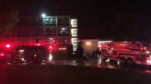 A firetruck and ambulance parked outside of Sheahan, with lights flashing. Photo by Sarah Gabrielli