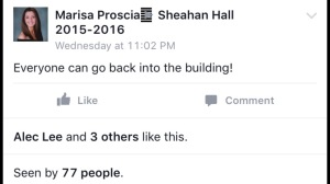After a few hours in the student center, this facebook post gave students the okay to return to Sheahan.