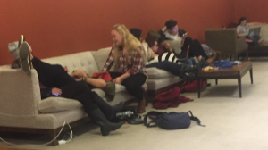Students hung out and watched Netflix in the student center during the emergency. Photo by Sarah Gabrielli