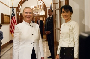 Aung San Suu Kyi meets with Secretary of State Hillary Clinton in 2011. Clinton has supported Suu Kyi's rise in Burmese politics.