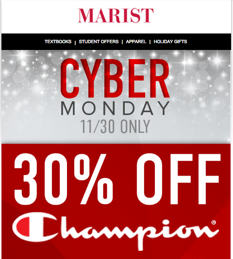 Even Marist is getting involved in the Cyber Monday fun!