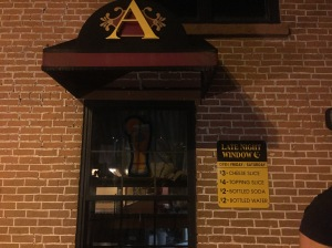 Amici's Late Night Window appears closed, but just needs to be pulled up by the customers.  Photo by Jackie Venuti